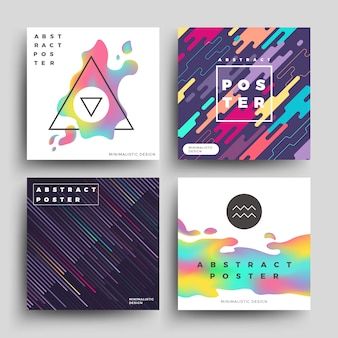 Retro holographic and motion geometric poster