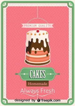 Retro Homemade Cake Poster Design