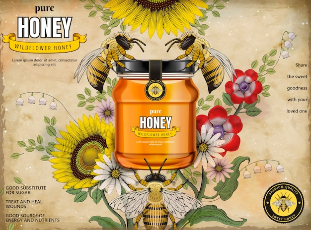 Retro honey ads, glass jar in  illustration with honey bees and elegant flowers around it, etching shading style background
