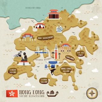 フラットなデザインスタイルのレトロな香港旅行マップ