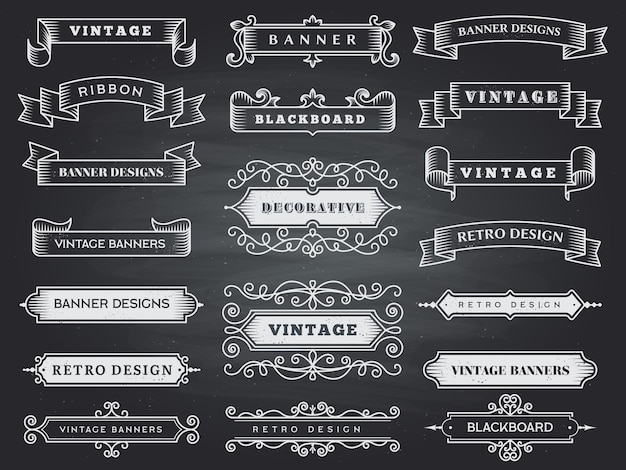 Retro horizontal banners. ribbon flourish ornate frame decoration  vintage collection.