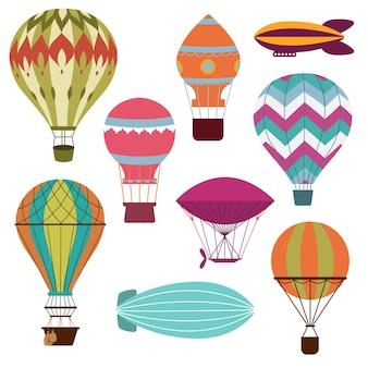 Retro hot air balloons set