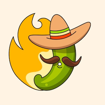 Retro hot mexican green chili pepper with mexican hat and moustache