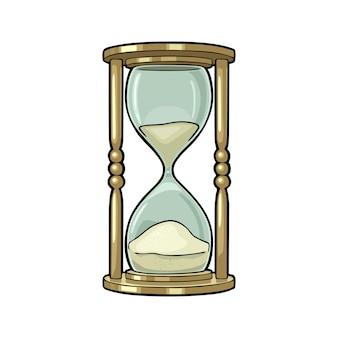 レトロな砂時計ベクトル色ヴィンテージイラストアウトラインレトロなスケッチスタイルで白で隔離
