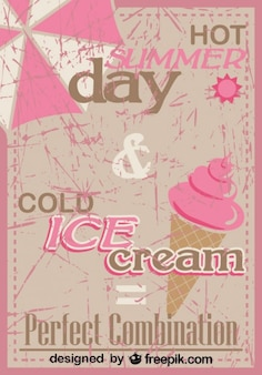 Retro Ice Cream Poster Design Perfect Mix