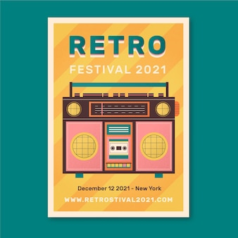 Retro illustrated music event poster template