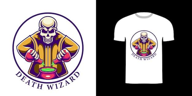Ретро иллюстрация волшебник смерти для дизайна футболки