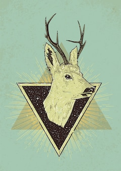 Retro illustration of deer with triangles