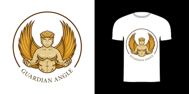 Tシャツデザインのレトロなイラストガーディアンアングル