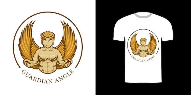Retro illustration guardian angle for tshirt design