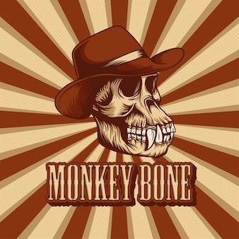 Retro illustration of a monkey skull with a cowboy hat