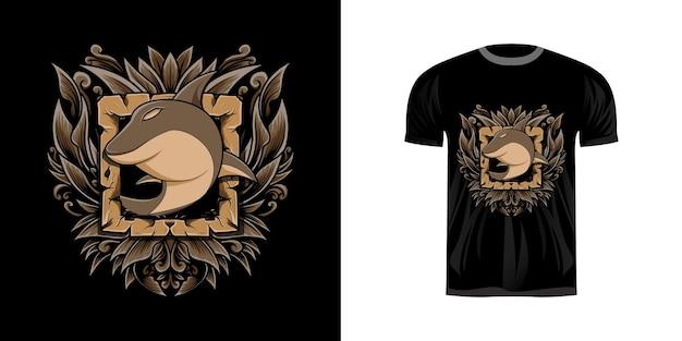 Ретро иллюстрация orca для дизайна футболки