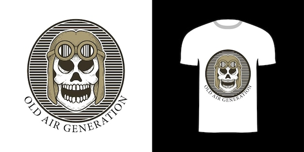 Ретро иллюстрация череп для дизайна футболки