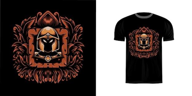 Ретро иллюстрация воин с орнаментом гравировки для дизайна футболки