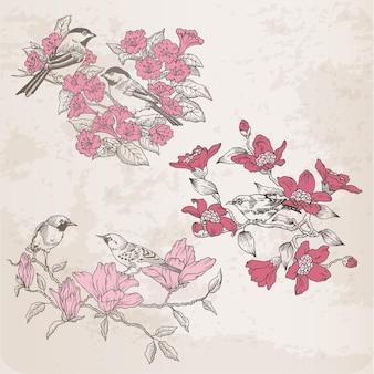 デザインとスクラップブックのためのレトロなイラスト-花と鳥-