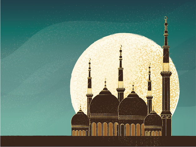 Retro image with grunge and grain texture of mosque