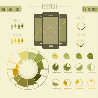 Retro infographics with mobile phones