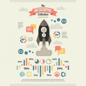 Retro infographics with a rocket