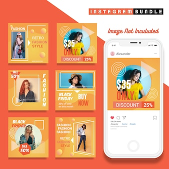 Retro instagram fashion post template