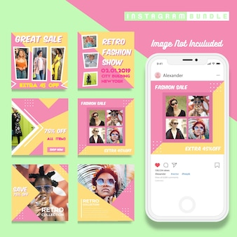 Retro instagram post fashion template