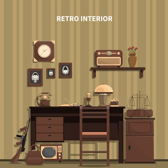Retro interior illustration