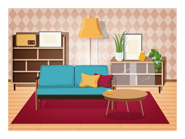 Retro interior of living room full of old-fashioned furniture and home decorations - comfy couch, coffee table, house plants, cupboard, floor lamp, radio receiver. illustration in flat style.