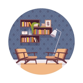Retro interior with bookshelves, chairs, lamp