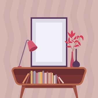 Retro interior with frame for copyspace