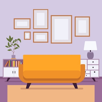 Retro interior with small frames for copyspace