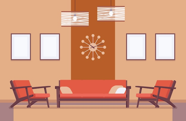 Retro interior with sofa, frames for copyspace