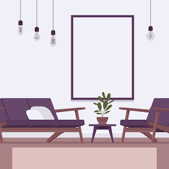 Retro interior with a wall frame for copyspace