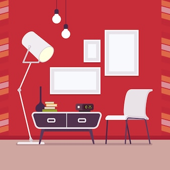 Retro interior with wall frames for copy space on red