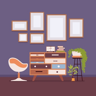 Retro interior with wall frames for copy space