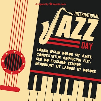 Retro international jazz day background