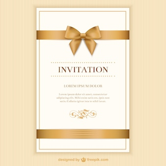 Retro invitation card with a ribbon