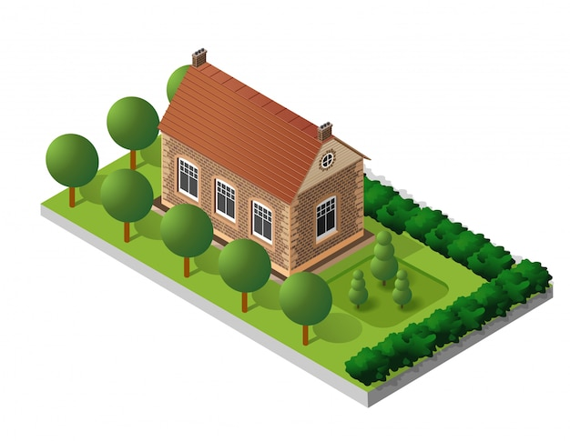 Retro isometric country house