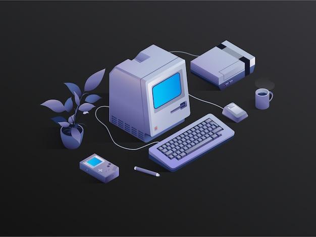 Ретро изометрические пк с цветком. векторная иллюстрация старинных видеоигр и кофе