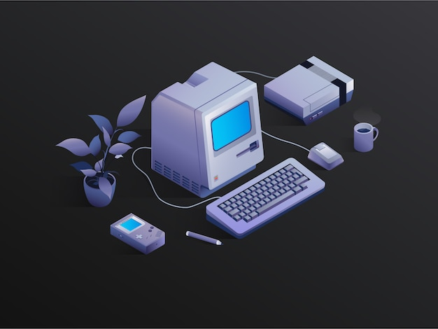 Retro isometric pc with a flower. vector illustration of vintage video games and coffee