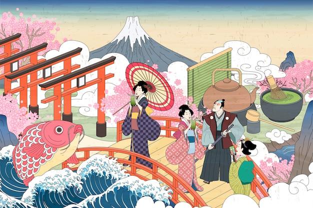 Retro japan scenery in ukiyo-e style, people carrying enjoying their green tea on the bridge
