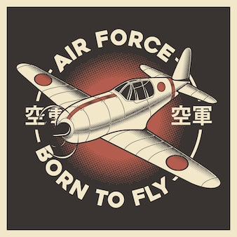 Retro japanese air force airplane aeroplane