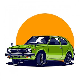 Retro japanese car illustration with solid color