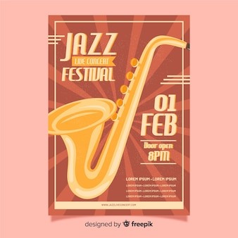 Retro jazz festival poster template