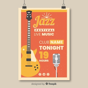 Retro jazz music festival poster template