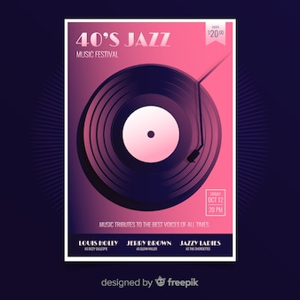 Retro jazz music poster template