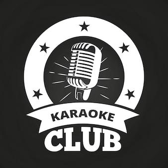 レトロなカラオケクラブのラベル白、黒板のデザイン