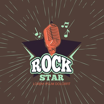 Retro karaoke music club, audio record studio vector logo with microphone and star on vintage sunburst background illustration