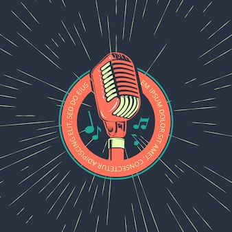 Retro karaoke music club, bar, audio record studio vector logo with microphone on vintage sunburst background illustration