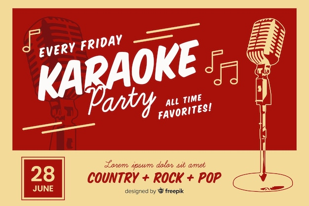 Retro karaoke party banner template