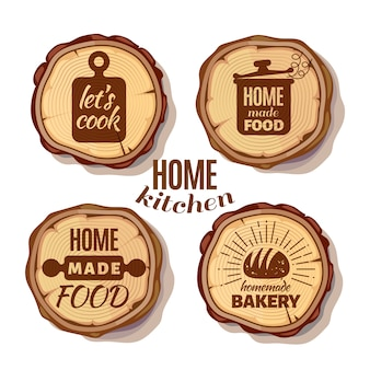 Retro kitchen cooking at home and handmade badges on saw cut tree trunks