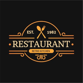 Retro kitchen design restaurant logo